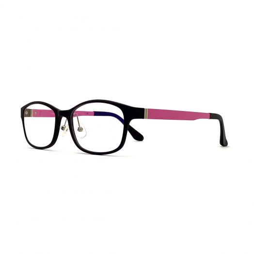 interlude Blue Block Glasses FIT-1636RP2-Matte Black Frame With Pink Temples