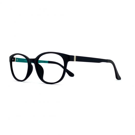 interlude Blue Block Glasses FIT-1843RP-Matte Black Frame With Green Temples