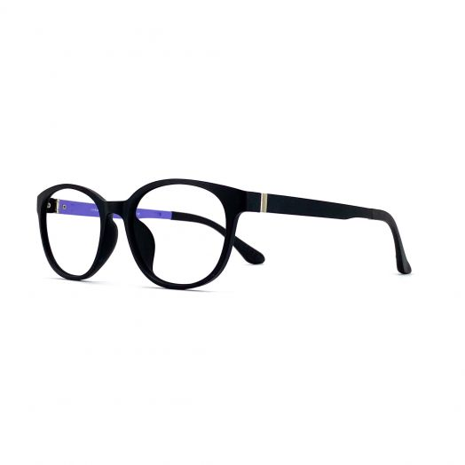 interlude Blue Block Glasses FIT-1843RP-Matte Black Frame With Purple Temples