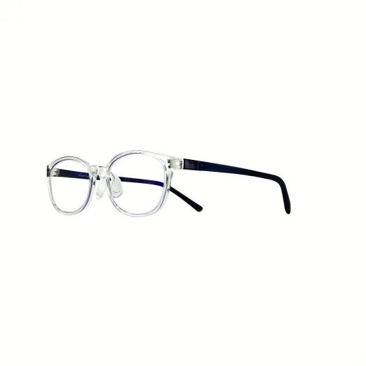 interlude Blue Block Glasses For Kids FIT-2034R-Transparent Frame With Navy Blue Temple