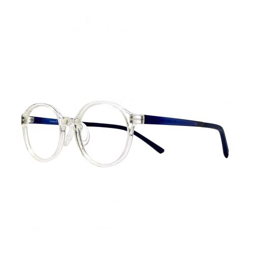 interlude Glasses For Kids FIT-2133P-Transparent Frame With Navy Blue Temple