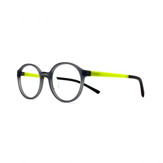 interlude Glasses For Kids FIT-2133P-Transparent Gray Frame With Green Temple
