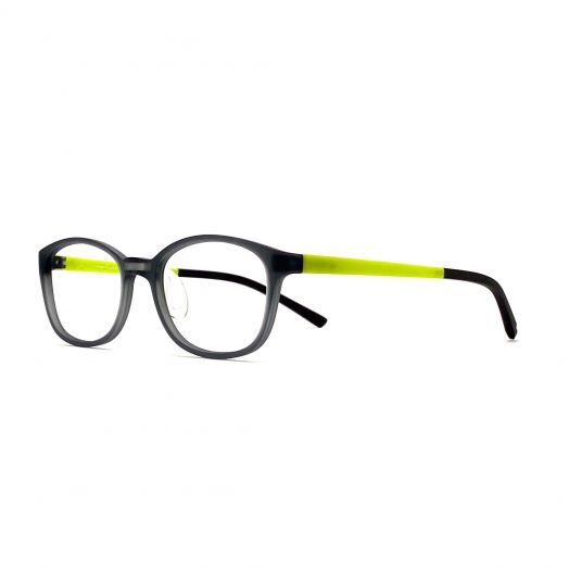 interlude Glasses For Kids FIT-2134P-Transparent Gray Frame With Green Temple