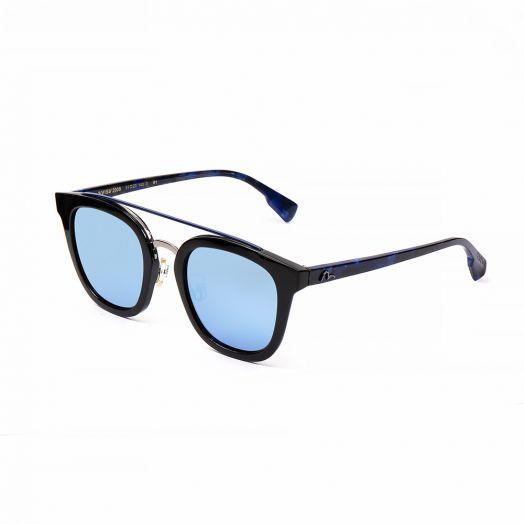 EVISU SUNGLASSES SEV3-2008-Black Frame With Blue Mirror Lens