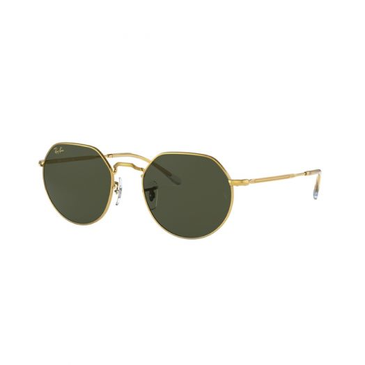 Ray Ban JACK Sunglasses SRA1-3565 Golden Frame With Green Lens RB3565 919631 53-26
