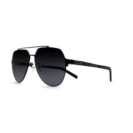 LAB Stylish Mirror Aviator Sunglasses SLAB-1901-Black Frame With Gray Lens