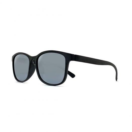 MyOB Polarized Mirrored Sunglasses SMYB-1825-Matte Black Frame With Silver Flash Lens