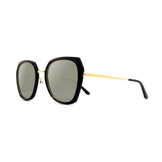 MyOB Stylish Polygon Sunglasses SMYB-1828A-Black Frame With Silver Lens