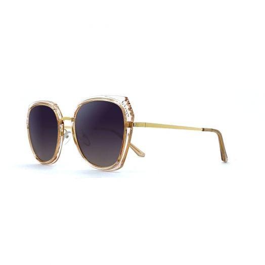 MyOB Stylish Polygon Sunglasses SMYB-1828A-Light Gold Frame With Gray Lens