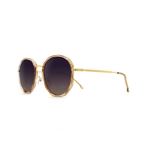 MyOB Stylish Sunglasses SMYB-1829A-Light Gold Frame With Gray Lens
