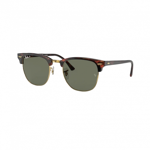Ray-Ban CLUBMASTER Polarized Sunglasses SRA1-3016F Brown Frame With Green Lens RB3016F 990/58 55-19
