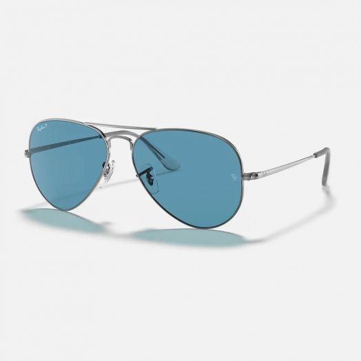 Ray-Ban AVIATOR 寶麗萊 太陽眼鏡 SRA1-3689 槍色框/藍色鏡 RB3689 004/S2 58-28