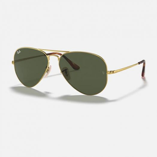 Ray-Ban AVIATOR Sunglasses SRA1-3689 Golden Frame With Green Lens RB3689 914731 58-14