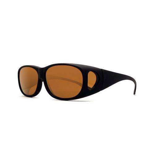 Polarized Cover Sun Glasses-Matte Black Frame With Brown Lens